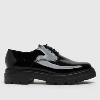 schuh Black Libra Patent Leather Lace Up Womens Flats