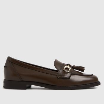 schuh Brown Lizbeth Leather Tassel Loafer Womens Flats