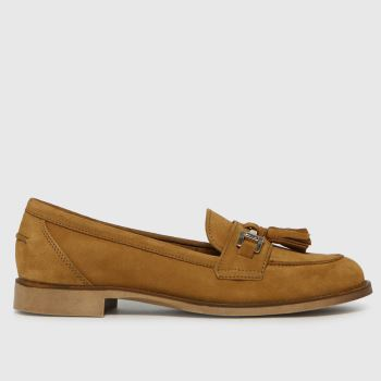 schuh Tan Lizbeth Suede Tassel Loafer Womens Flats