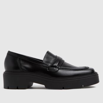schuh Black Lennox Chunky Leather Loafer Womens Flats