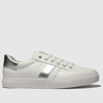 Schuh White & Silver Mash Up Womens Trainers