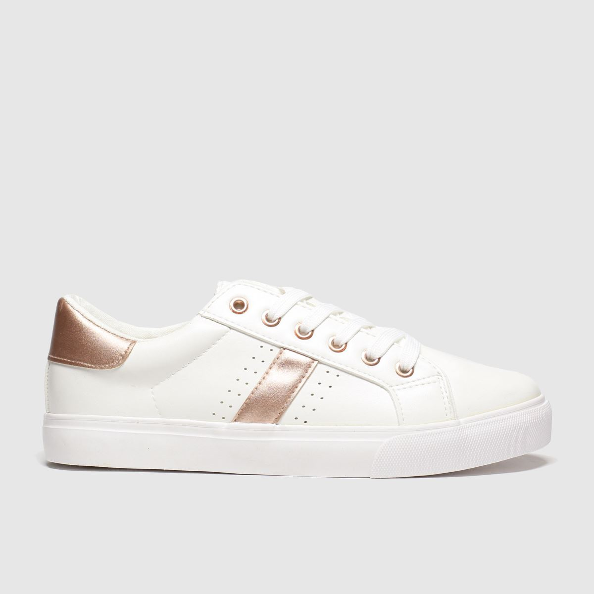 schuh Schuh White & Gold Medley Flat Shoes
