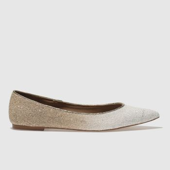 Schuh White & Gold Elusive Womens Flats