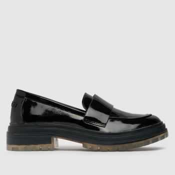 schuh Black Lotus Patent Clear Sole Loafer Womens Flats