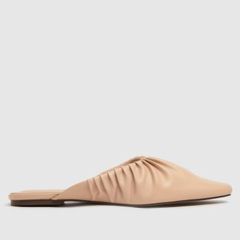 schuh Natural Larkin Ruched Point Mule Womens Flats
