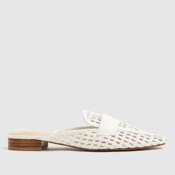 schuh White Latoya Weave Backless Loafer Flats