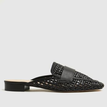 schuh Black Latoya Weave Backless Loafer Womens Flats