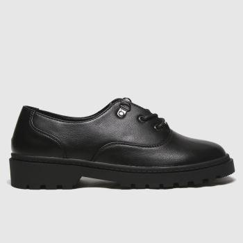 Schuh Black Bright Black Lace Up Womens Flats#