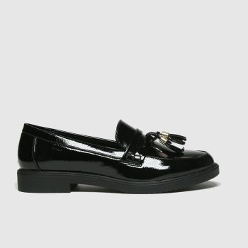 schuh Black Knowledge Black Patent Loafer Womens Flats