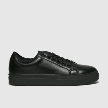 schuh Black Forever Black Lace Up Trainer Womens Flats
