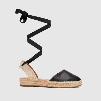 schuh Black Lorna Espadrille Tie Up Womens Sandals