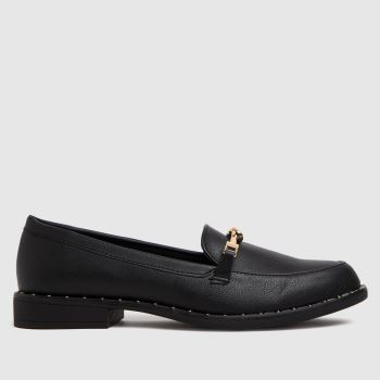 schuh Black Lacey Snaffle Loafer Womens Flats