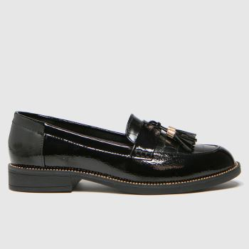 schuh Black Lailah Croc Trassel Loafer Womens Flats