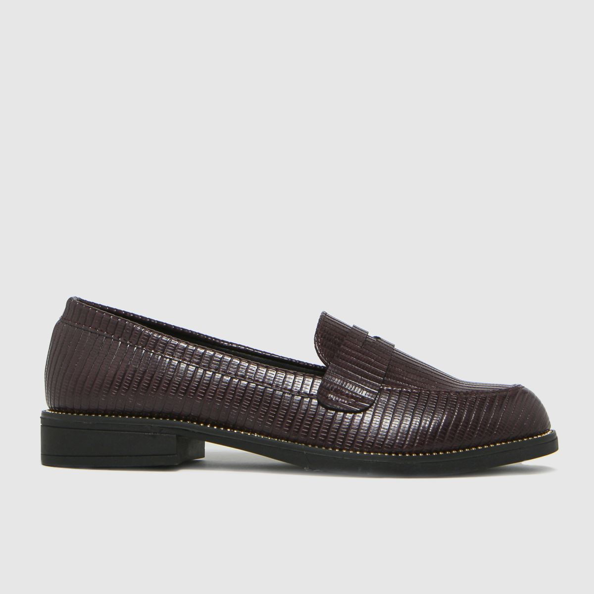 schuh Schuh Burgundy Lucy Stud Detail Flat Shoes