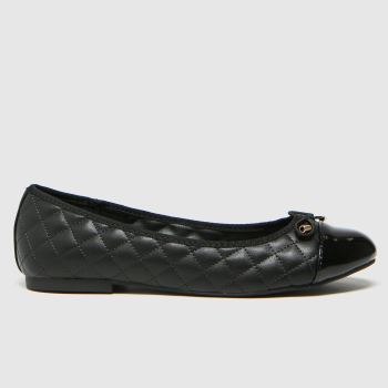 schuh Black Luna Quilted Ballerina Womens Flats