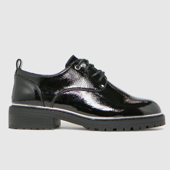 schuh Black Lola Lace Up With Hardware Womens Flats