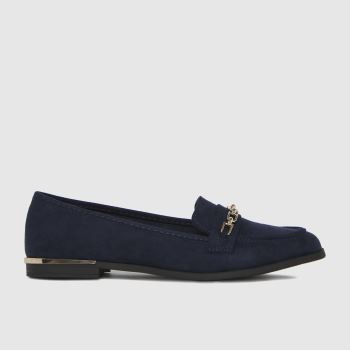 schuh Navy Lottie Chain Detail Loafer Womens Flats