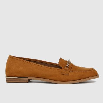 schuh Tan Lottie Chain Detail Loafer Womens Flats