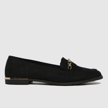 schuh Black Lottie Chain Detail Loafer Womens Flats