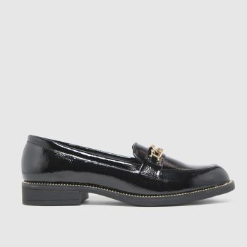 schuh Black Lora Croc Chain Loafer Womens Flats