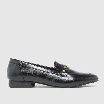 schuh Black Larra Studded Loafer Womens Flats