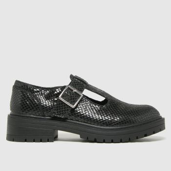 schuh Black Lani Snake T Bar Shoe Womens Flats