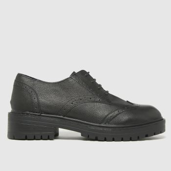 schuh Black Lois Leather Brogue Lace Up Womens Flats