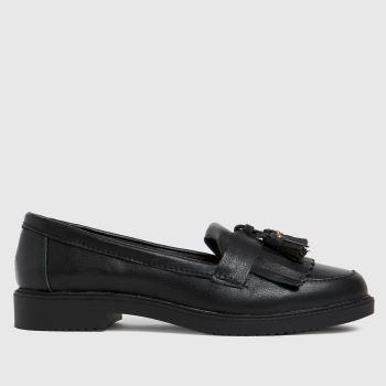 schuh Black Lorri Leather Loafer Womens Flats