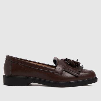 schuh Brown Lorri Croc Leather Loafer Womens Flats