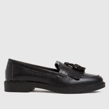 schuh Black Lorri Croc Leather Loafer Womens Flats
