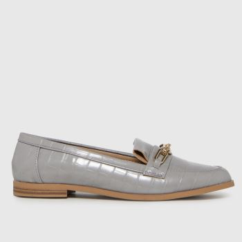 schuh Grey Liliana Croc Chain Loafer Womens Flats