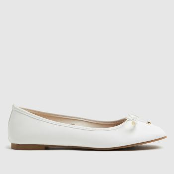 schuh White Libet Square Toe Ballerina Womens Flats