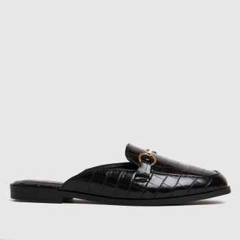 schuh Black Lauryn Backless Loafer Womens Flats