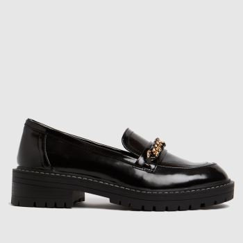 schuh Black Loretta Chunky Chain Loafer Womens Flats