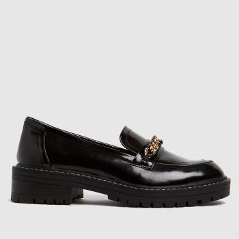 schuh Black Loretta Chunky Chain Loafer Womens Flats