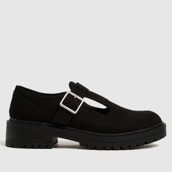 schuh Black Lani T Bar Shoe Womens Flats