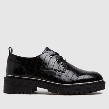 schuh Black Lesley Croc Lace Up Shoe Womens Flats