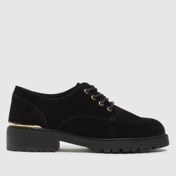 schuh Black Liberty Lace Up Shoe Hardware Womens Flats