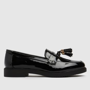 schuh Black Wide Fit Knowledge Loafer Womens Flats
