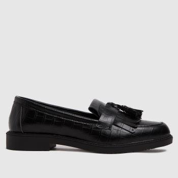 schuh Black Wide Fit Lorri Croc Loafer Womens Flats