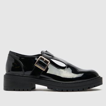 schuh Black Lani Patent T-bar Shoe Womens Flats