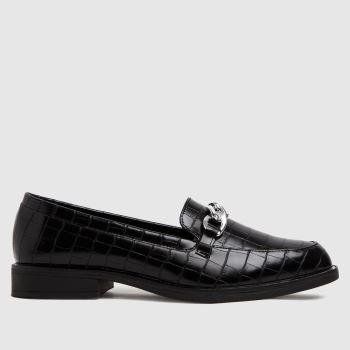 schuh Black Lorena Croc Chain Loafer Womens Flats