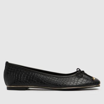 schuh Black Libet Croc Ballerina Womens Flats
