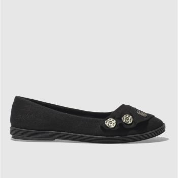 BLOWFISH BLACK GARDEN LINEN FLAT SHOES