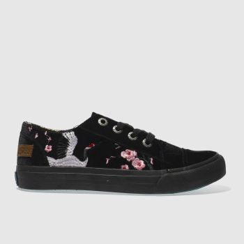 Blowfish Black Maki Velvet Womens Trainers