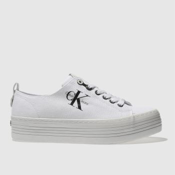 Calvin Klein White & Black Jeans Zolah Canvas Womens Trainers