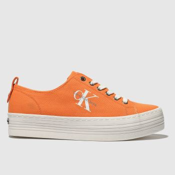 Calvin Klein Orange Jeans Zolah Canvas Womens Trainers