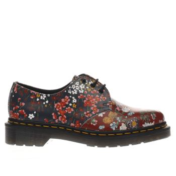DR MARTENS NAVY & RED FLORAL 1461 3 EYE FLAT SHOES