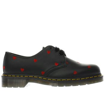 DR MARTENS BLACK & RED 1461 3 EYE SHOE LAZY OAF FLAT SHOES