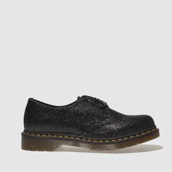 DR MARTENS BLACK & SILVER 1461 3 EYE SHOE GLITTER FLAT SHOES